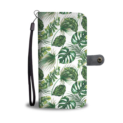 Green Pattern Tropical Palm Leaves Wallet Phone Case