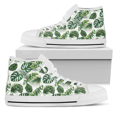 Green Pattern Tropical Palm Leaves Women High Top Canvas Shoes