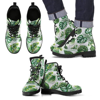 Green Pattern Tropical Palm Leaves Women & Men Leather Boots