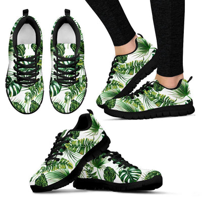 Green Pattern Tropical Palm Leaves Women Sneakers