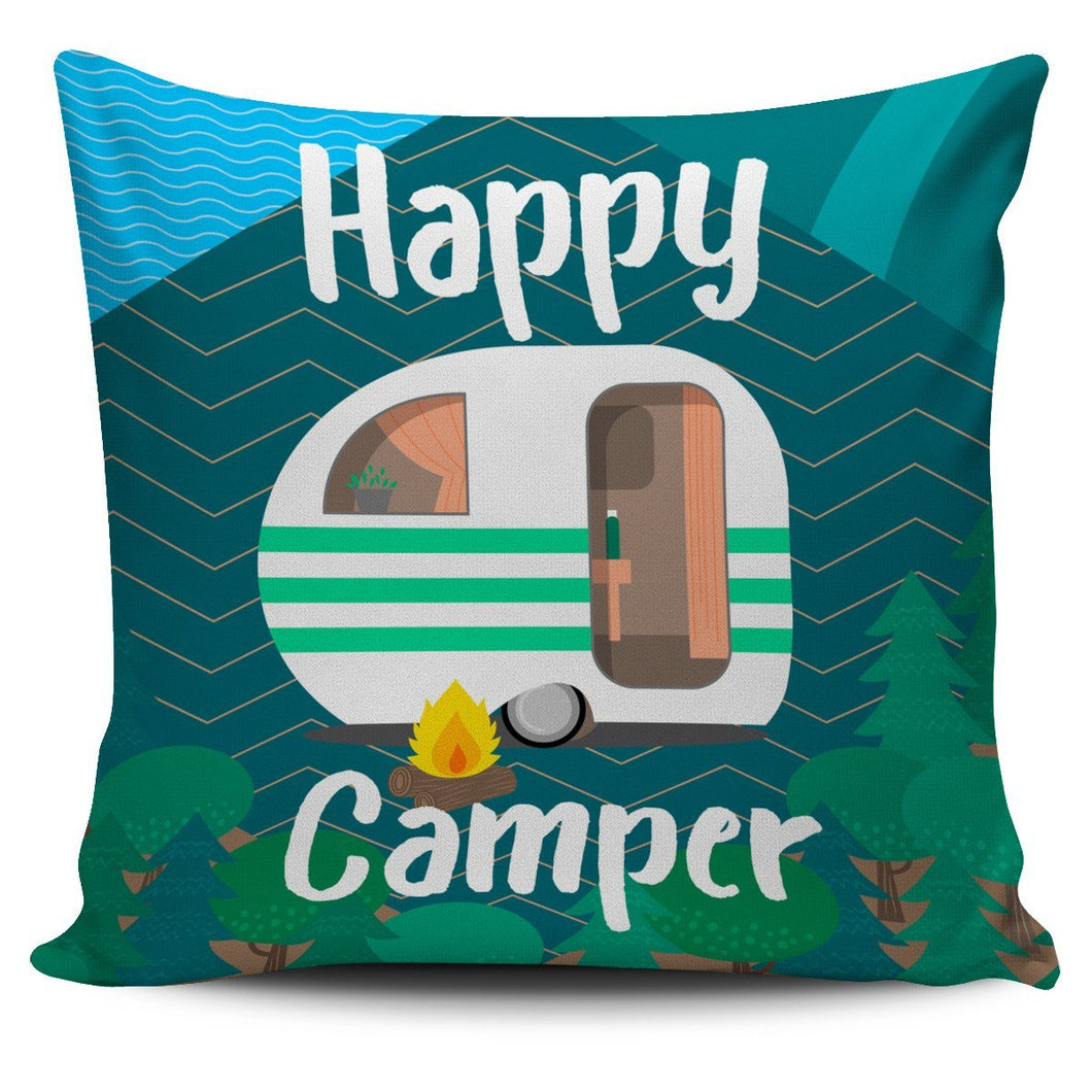 Happy camper Throw Pillow Cover