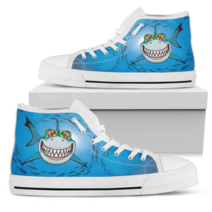 Happy Shark Women High Top Canvas Shoes