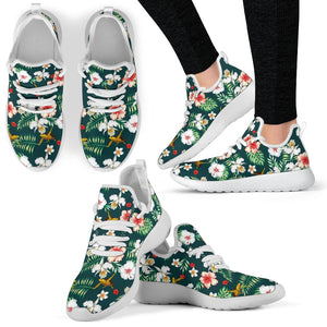 Hawaiian Flower Design with SeaTurtle Print Mesh Knit Sneakers Shoes