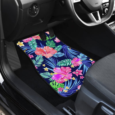 Hawaiian Tropical Hibiscus Neon Car Floor Mats