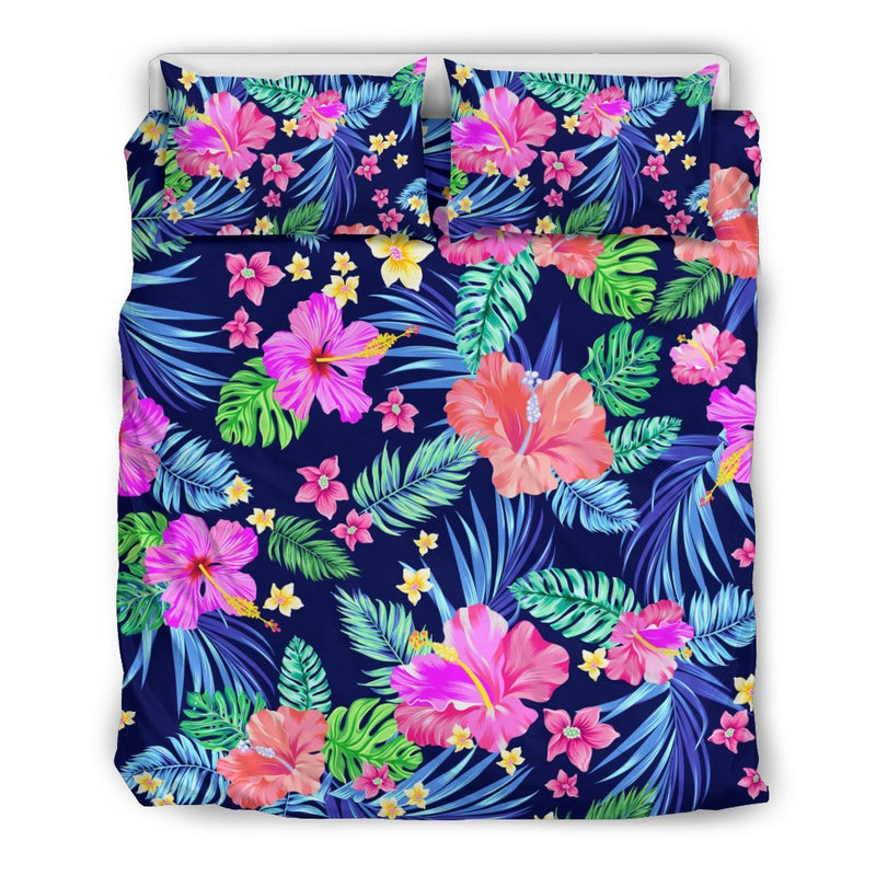 Hawaiian Tropical Hibiscus Neon Duvet Cover Bedding Set