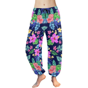 Hawaiian Tropical Hibiscus Neon Harem Pants