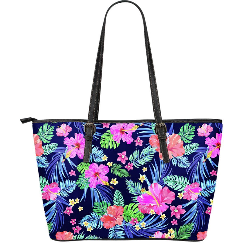 Hawaiian Tropical Hibiscus Neon Large Leather Tote Bag