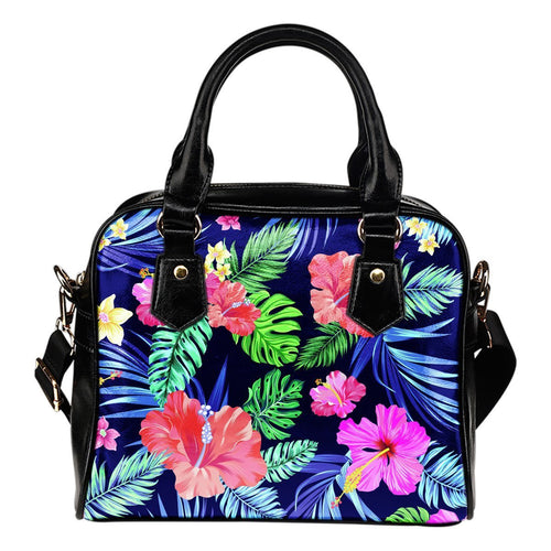 Hawaiian Tropical Hibiscus Neon Leather Shoulder Handbag