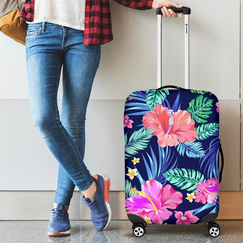 Hawaiian Tropical Hibiscus Neon Luggage Cover Protector