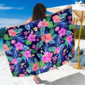 Hawaiian Tropical Hibiscus Neon Beach Sarong Pareo Wrap