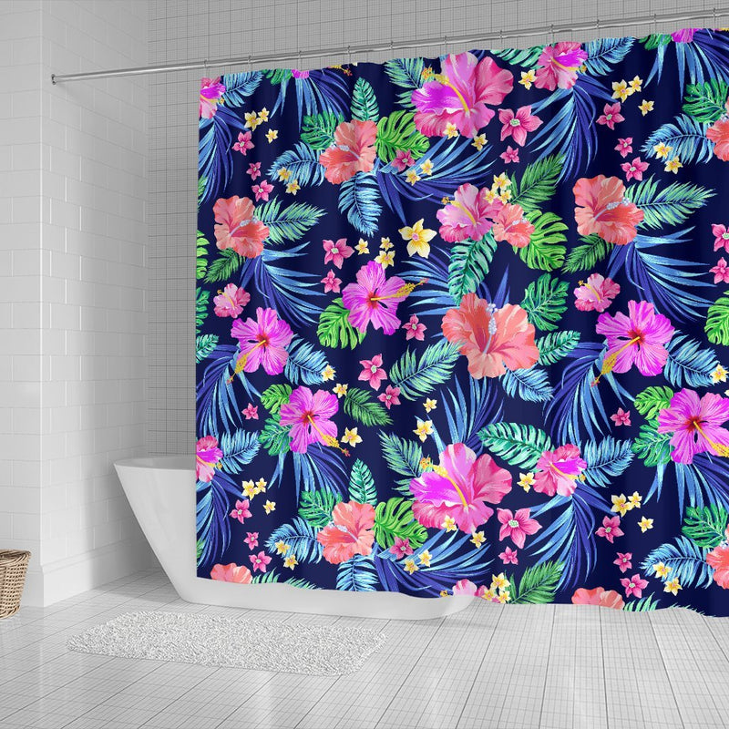 Hawaiian Tropical Hibiscus Neon Shower Curtain