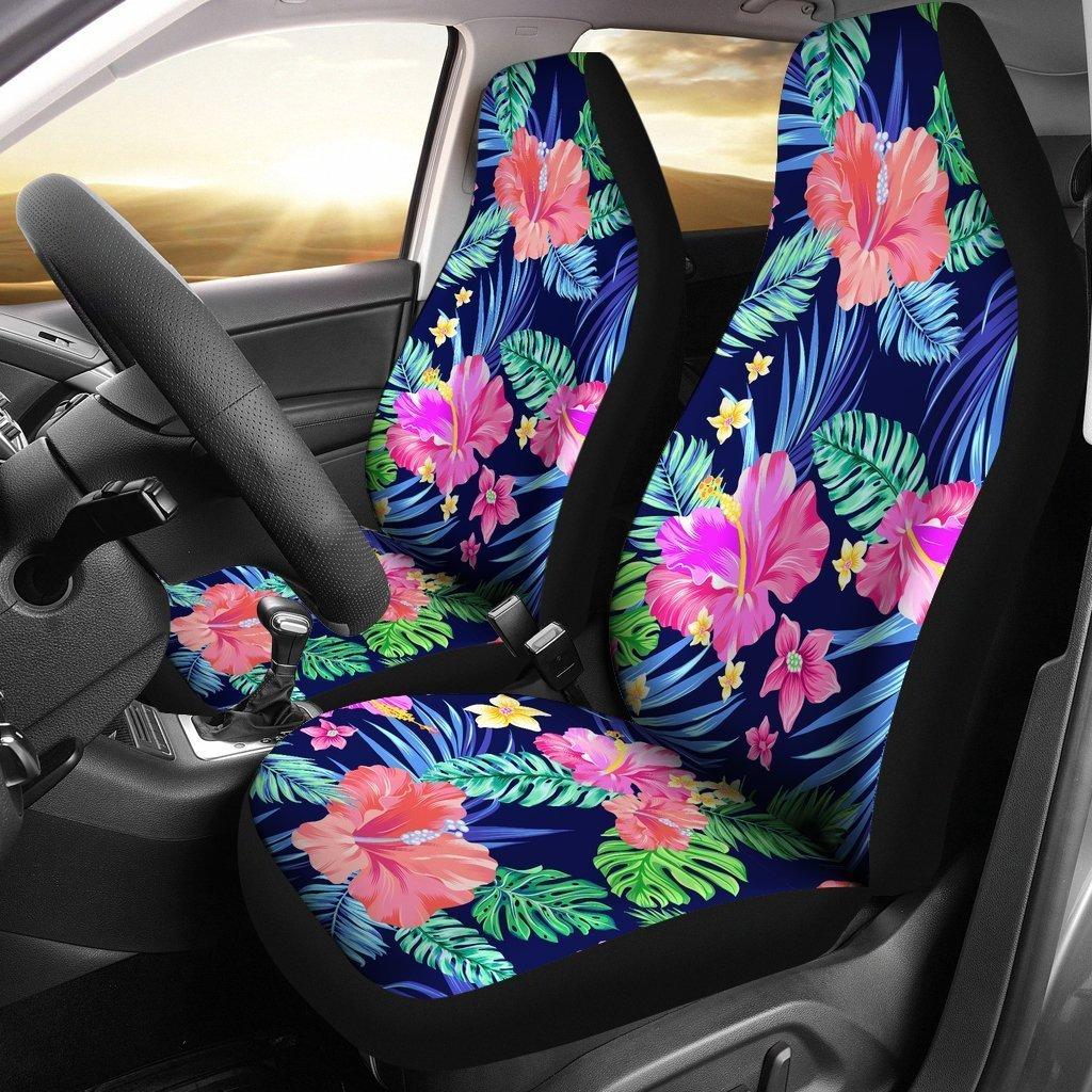 Hawaiian Tropical Hibiscus Neon Universal Fit Car Seat Covers