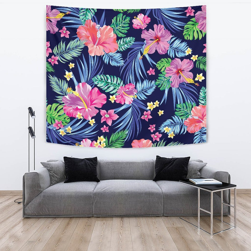 Hawaiian Tropical Hibiscus Neon Wall Tapestry