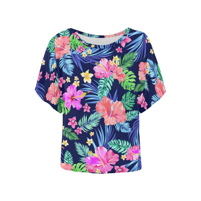 Hawaiian Tropical Hibiscus Neon Women Batwing Tops Shirt
