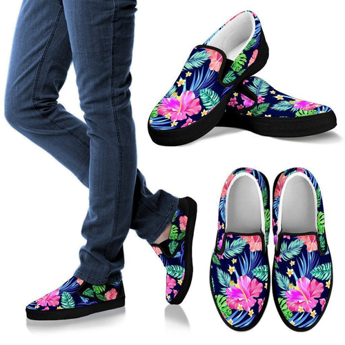 Hawaiian Tropical Hibiscus Neon Women Canvas Slip On Shoes