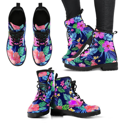Hawaiian Tropical Hibiscus Neon Women & Men Leather Boots