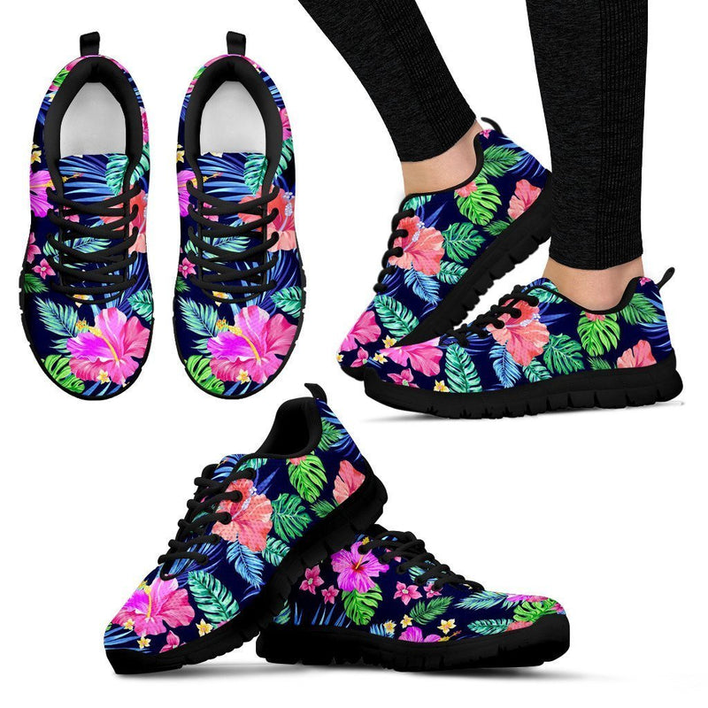 Hawaiian Tropical Hibiscus Neon Women Sneakers