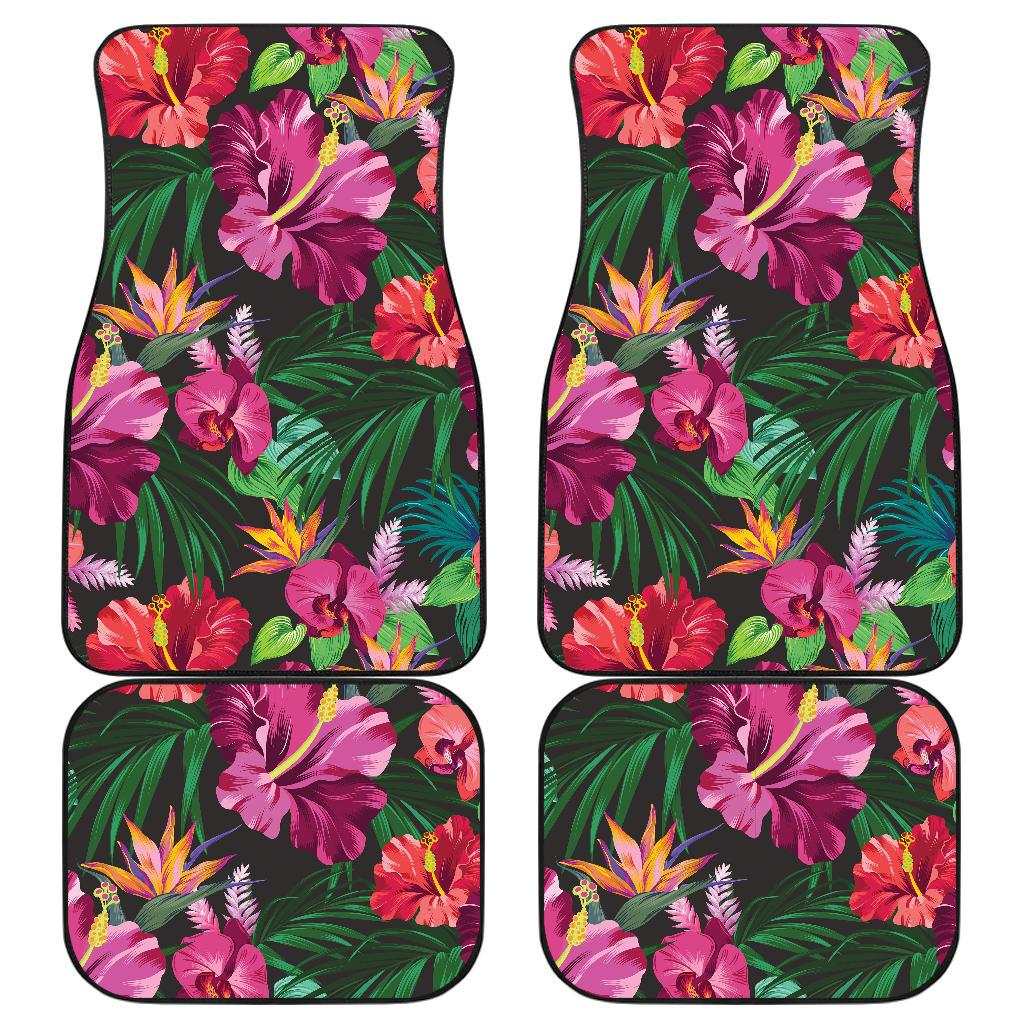 Hawaiian Flower Hibiscus tropical Front and Back Car Floor Mats