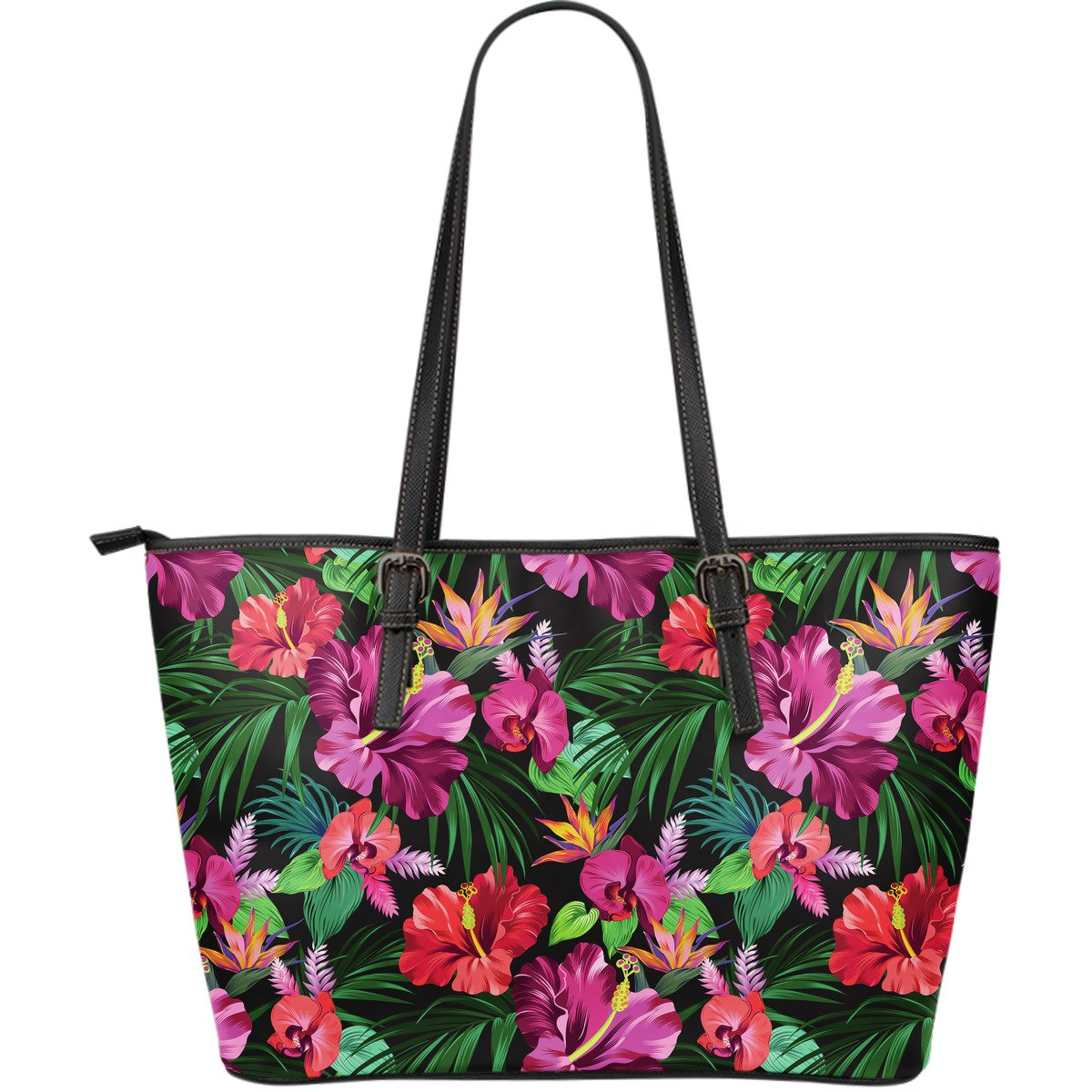 Hawaiian Flower Hibiscus tropical Large Leather Tote Bag