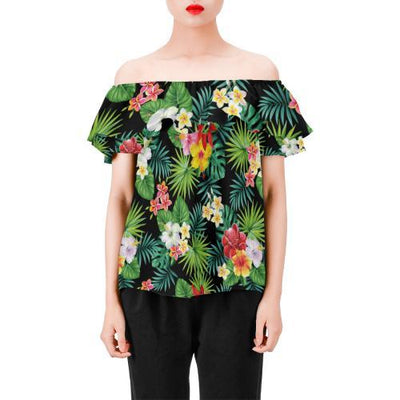 Hibiscus Hawaiian flower tropical Off Shoulder Ruffle Blouse
