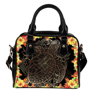 Hawaiian flower Sea turtle Leather Shoulder Handbag