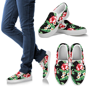 Hawaiian Flower Tropical Leaves Men Slip On Shoes