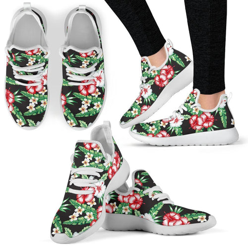 Hawaiian Flower Tropical Leaves Mesh Knit Sneakers Shoes