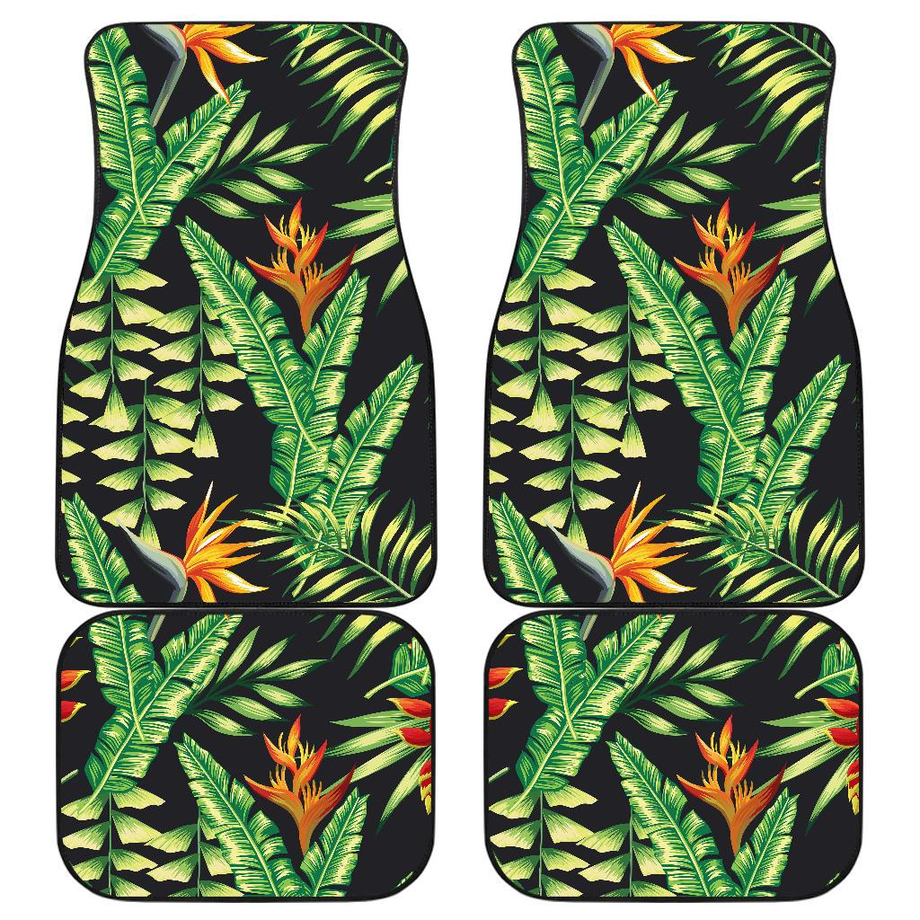 Hawaiian Flower Tropical Palm Leaves Front and Back Car Floor Mats