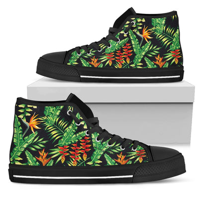 Hawaiian Flower Tropical Palm Leaves Men High Top Canvas Shoes
