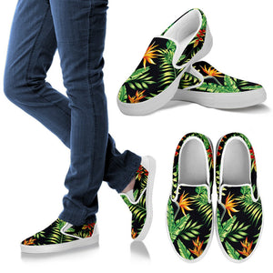 Hawaiian Flower Tropical Palm Leaves Men Slip On Shoes
