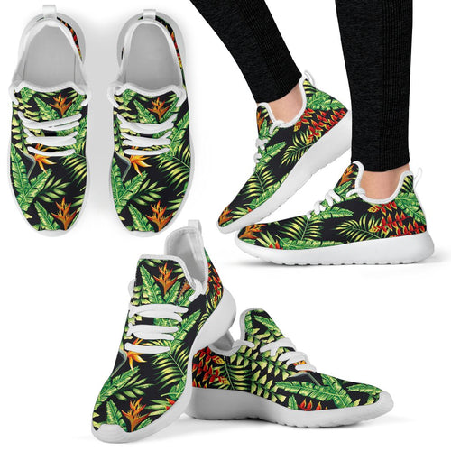Hawaiian Flower Tropical Palm Leaves Mesh Knit Sneakers Shoes