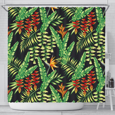 Hawaiian Flower Tropical Palm Leaves Shower Curtain