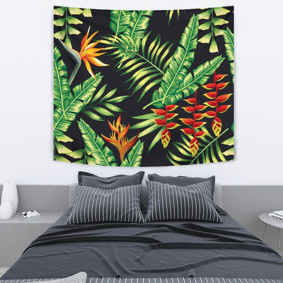 Hawaiian Flower Tropical Palm Leaves Wall Tapestry