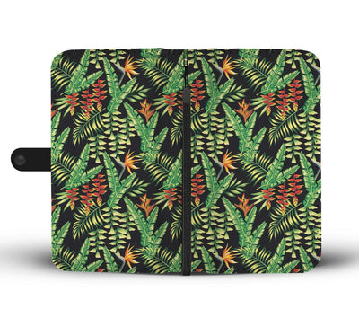 Hawaiian Flower Tropical Palm Leaves Wallet Phone Case