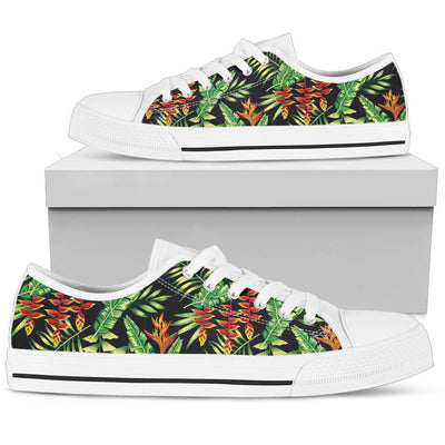 Hawaiian Flower Tropical Palm Leaves Women Low Top Canvas Shoes