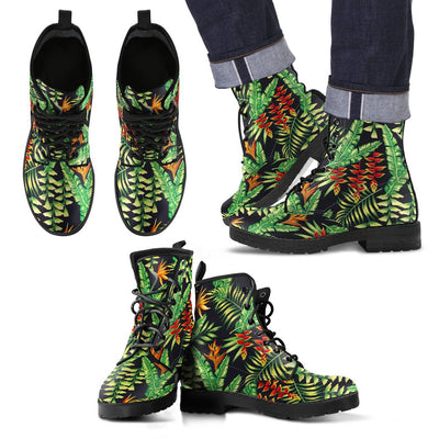 Hawaiian Flower Tropical Palm Leaves Women & Men Leather Boots