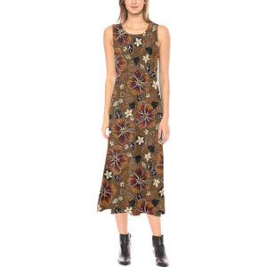 Hawaiian Themed Pattern Print Design H01 Sleeveless Open Fork Long Dress