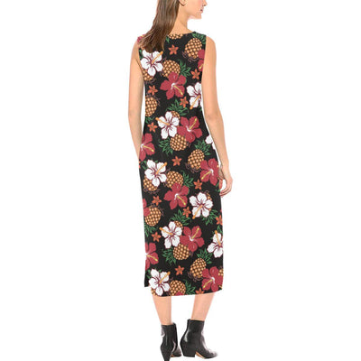 Hawaiian Themed Pattern Print Design H013 Sleeveless Open Fork Long Dress