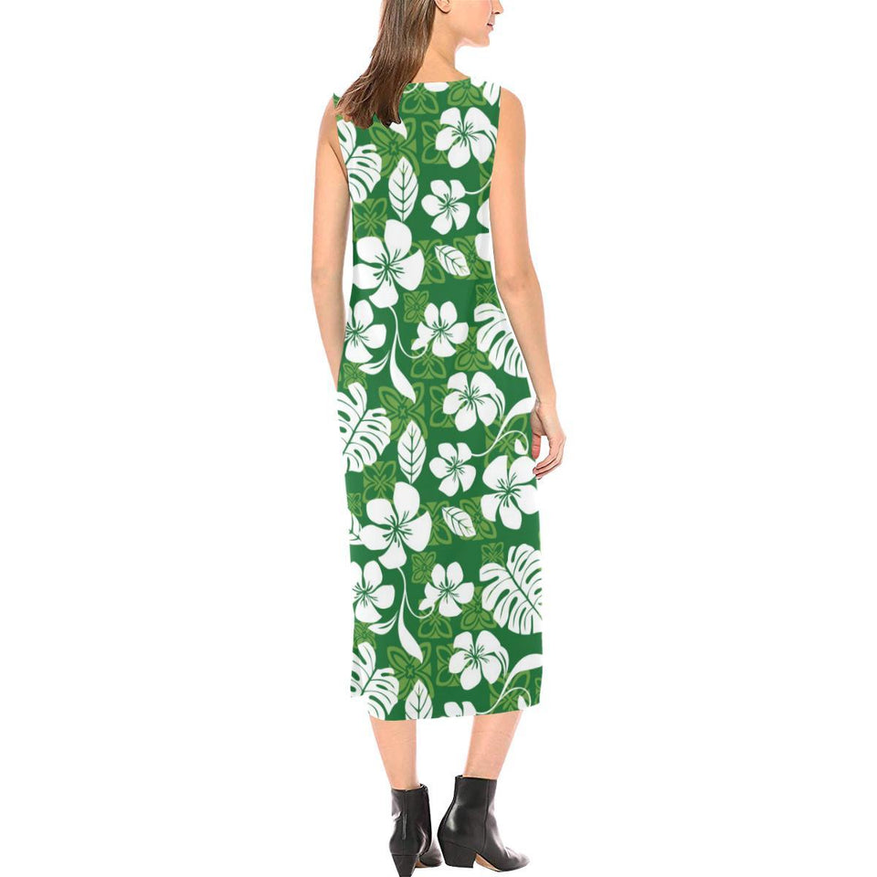 Hawaiian Themed Pattern Print Design H016 Sleeveless Open Fork Long Dress