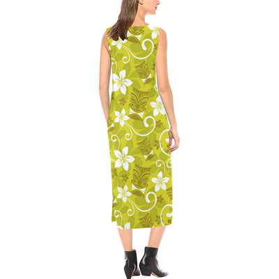 Hawaiian Themed Pattern Print Design H019 Sleeveless Open Fork Long Dress