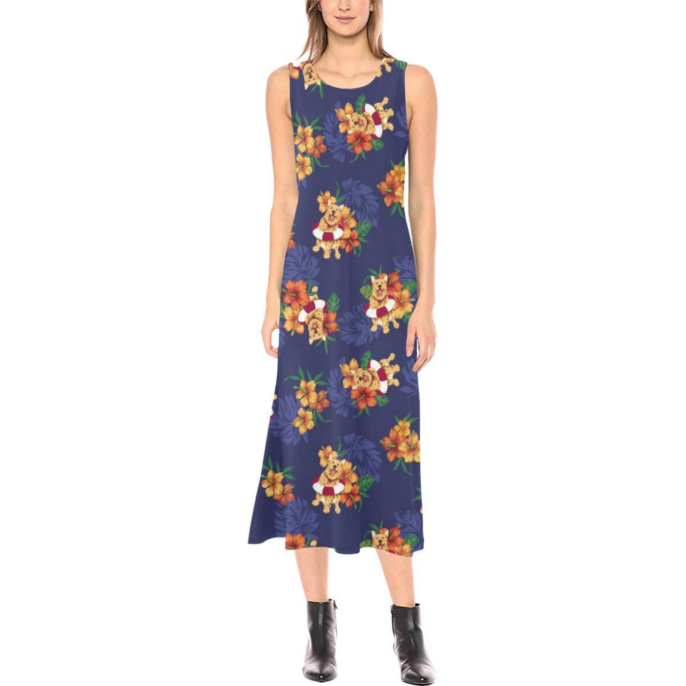 Hawaiian Themed Pattern Print Design H02 Sleeveless Open Fork Long Dress