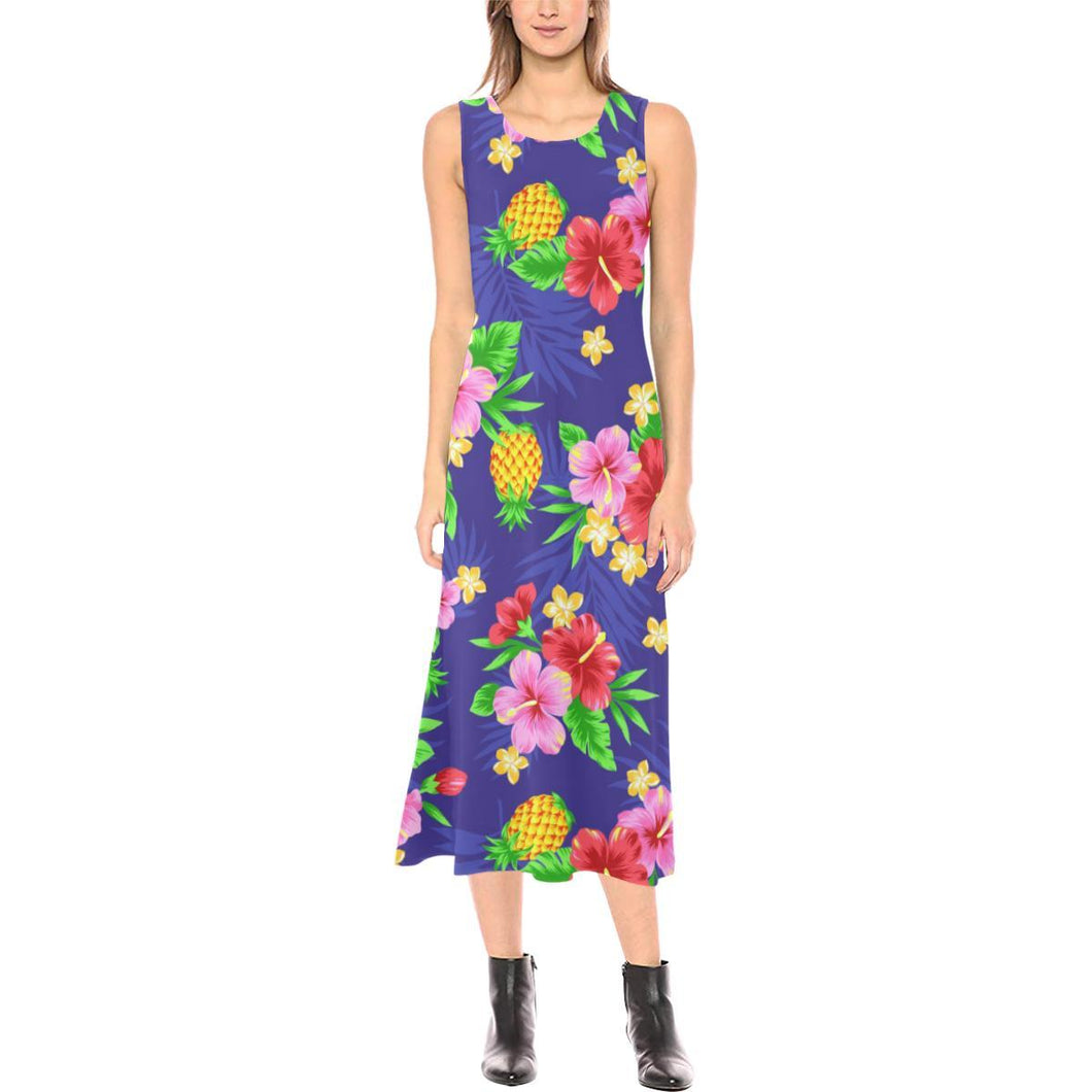 Hawaiian Themed Pattern Print Design H05 Sleeveless Open Fork Long Dress