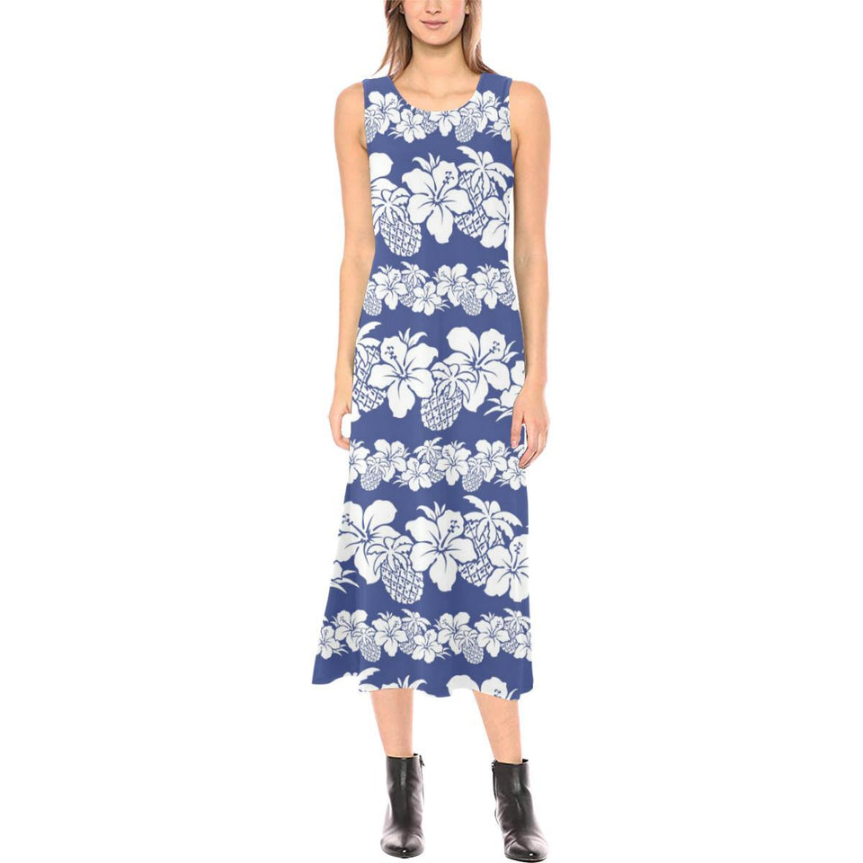 Hawaiian Themed Pattern Print Design H07 Sleeveless Open Fork Long Dress