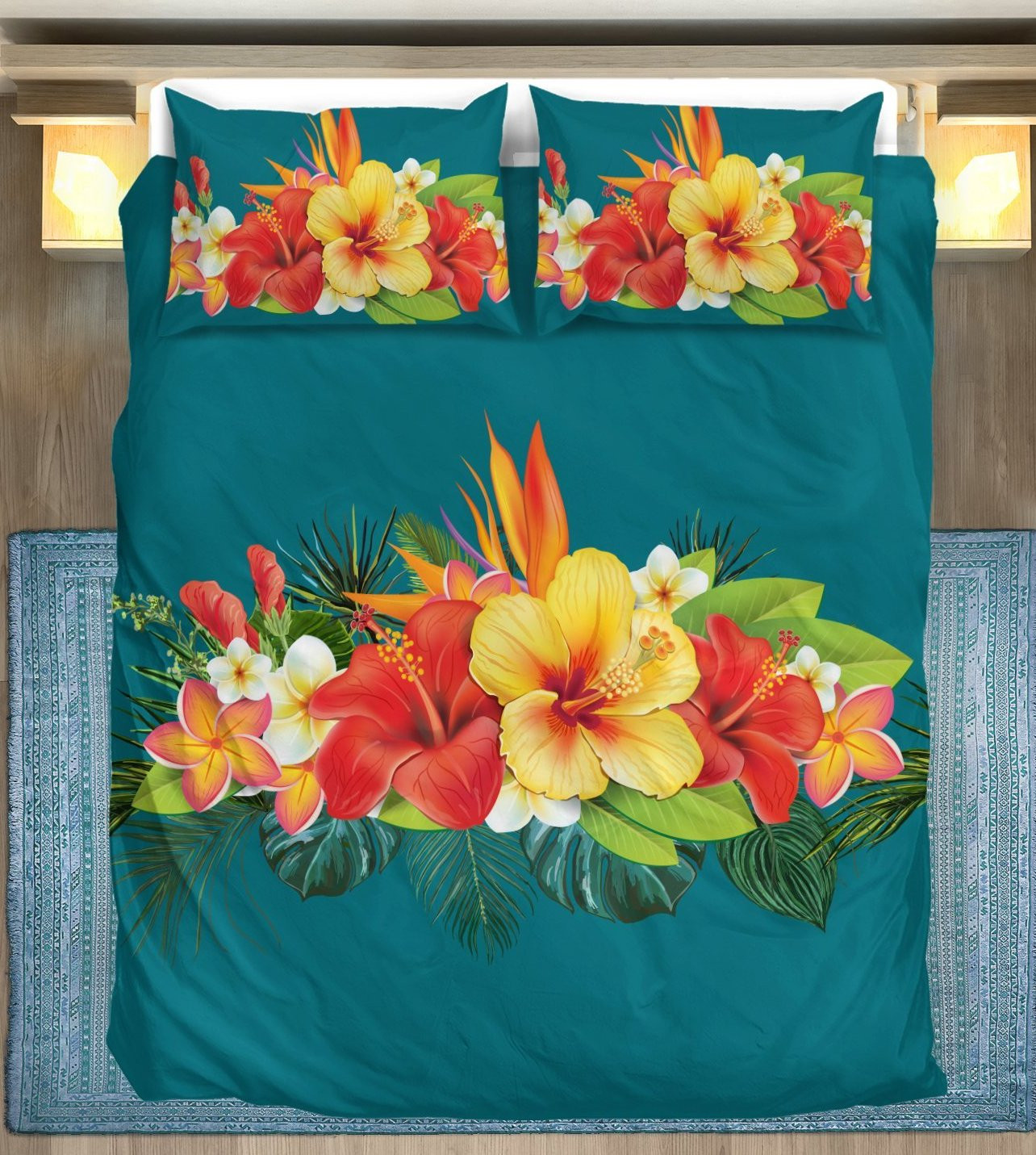 Hawaiian Tropical Flower Hibiscus Bedding Set Jorjune