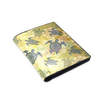 Hawaiian Turtle Tribal Design Print Men's Leather Wallet-JorJune