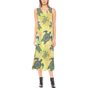 Hawaiian Turtle Tribal Design Print Sleeveless Open Fork Long Dress