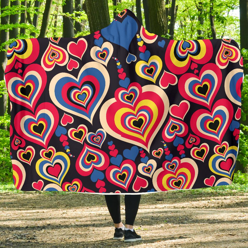 Heart Pattern Print Design HE08 Hooded Blanket-JORJUNE.COM