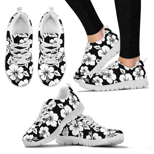 Hibiscus Black Hawaiian Flower Style Women Sneakers Shoes