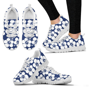 Hibiscus Blue Hawaiian Flower Pattern Women Sneakers Shoes