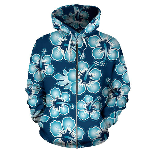 Hibiscus Flower Hawaiian Themed All Over Zip Up Hoodie